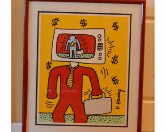 Keith Haring enmarcado Playboy TV hombre Print