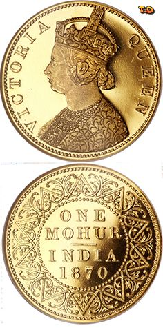 N♡T. 1 Mohur - Victoria Country 	India - British Year 	1870 Value 	1 Mohur (15) Metal 	Gold (.917) Weight 	11.66 g