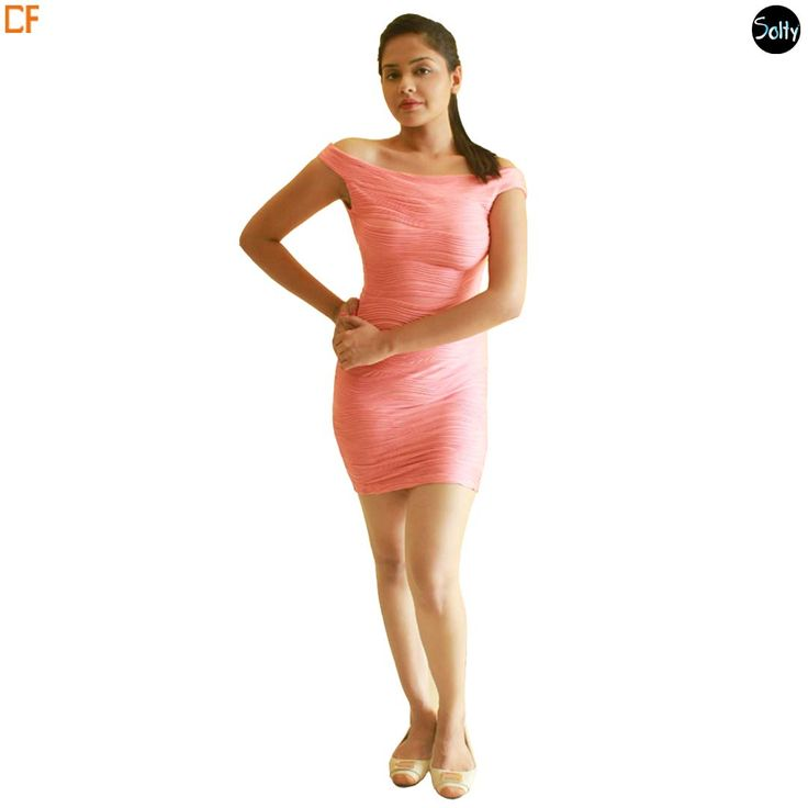 Peach off shoulder party dress in lycra. The dress is a body con dress and hugs at all the right places. The dress has horizontally inclined lines all over the dress which creates a nice rippling effect. Take a Look >> http://www.droomfashion.com/shop/gowns-dresses/party_dresses_peach_off_shoulder_party_dress/