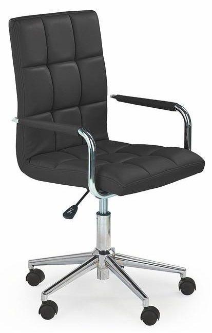 Gonzo is een moderne in hoogte verstelbare kinderbureaustoel voorzien van kantelmechanisme, deze bureaustoel is voorzien van een verchroomd stalen poot gecombineerd met een kunstlederen zitting voorzien van armleuningen. De zitting en de rugleuning zijn aan de voorzijde afgewerkt met blokmotief stiksels.  Deze bureaustoel is verkrijgbaar in de kleuren Wit, Zwart, Roze of Paars.