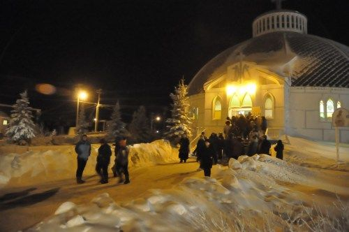 People leaving the Inuvik Community Christmas Concert