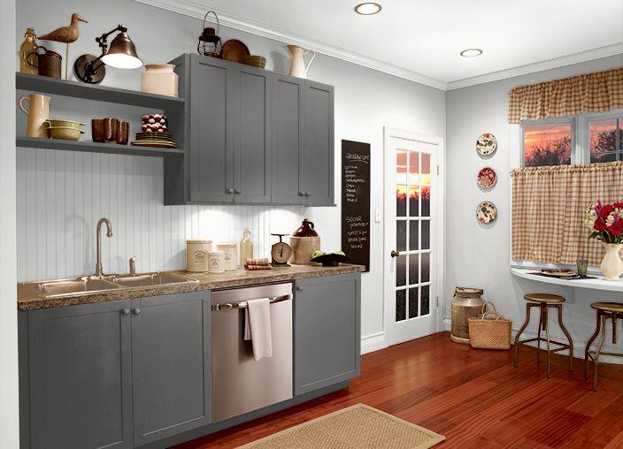 Behr Dark Granite Cabinets Ultra Pure White Walls Trim