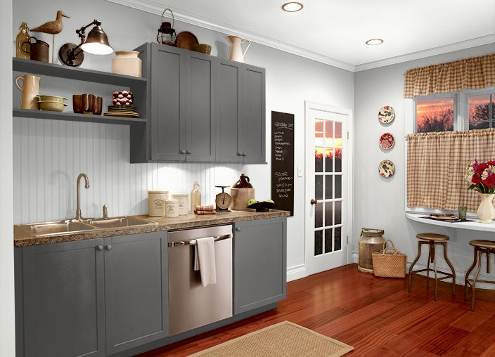 Behr Dark Granite Cabinets Ultra Pure White Walls Trim