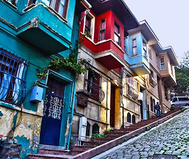 Balat, Istanbul  Once Istanbul's old Jewish quarter, Balat has attracted a more diverse range of residents over time. Yet the architecture takes you back to a lost era; it's easy to spend a few hours wandering, preferably with camera in hand, to capture the dilapidated yellow and pink buildings adorned by billowing red or green curtains, all sparkling against the cerulean sky.
