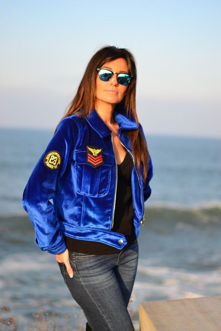 Women Ladies Vintage Blue Zip Up Velvet Short Jacket With Embroidered Patch