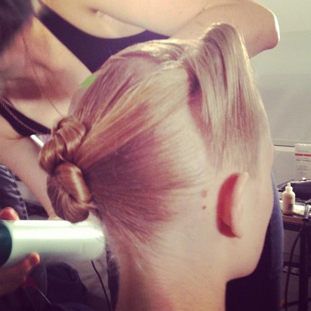 Masculine meets feminine hair by @kerastaseusa at Suno. Grace Jones triangular roll + chignon. #nyfw: Hair Fashion, Runway Hair, Hair Style, Pretty Hair, Feminine Hair, Elegant Hairstyles