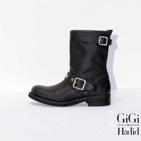 Tommy Hilfiger Leather Boots Gigi Hadid ($200) ❤ liked on Polyvore featuring shoes, boots, tommy hilfiger shoes, leather moto boots, side zip motorcycle boots, leather motorcycle boots and tommy hilfiger boots