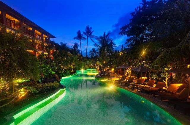 Nice Pool Lighting Ambience of Padma Hotel Legian Bali | Equatorial Design | Andrew Folland
