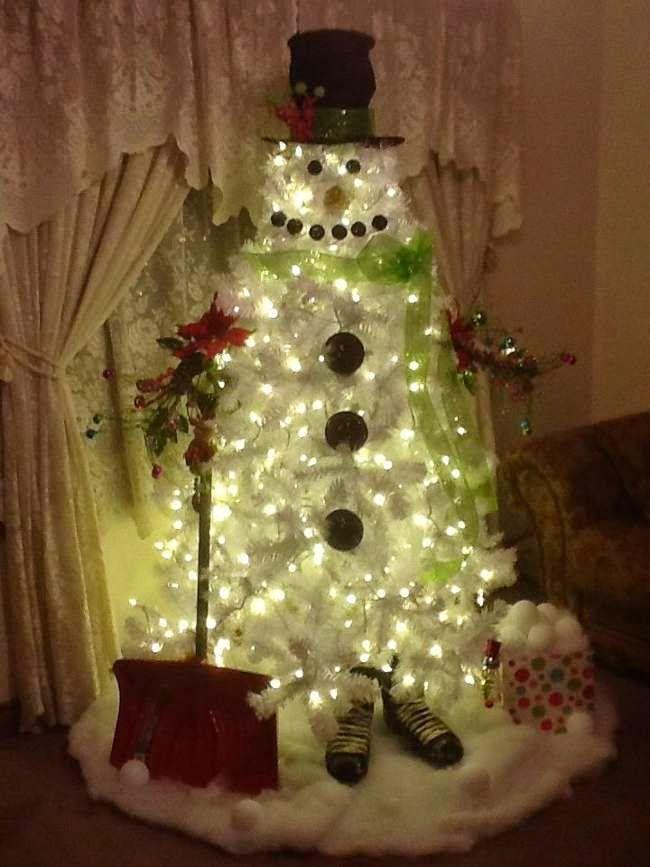 rboles de navidad blancos con look de muecos de nieve sencillo y muy bonito