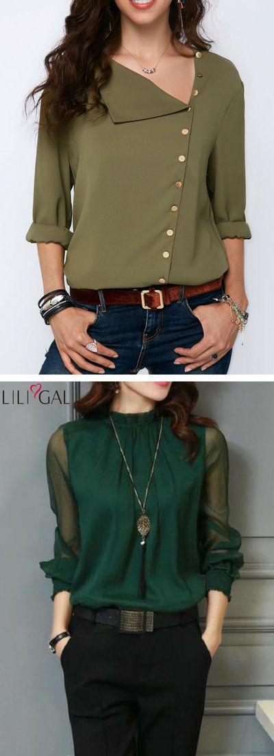 Business-Casual-Outfits: Army Green Roll-Ärmel Knopf Detail Bluse / Deep Green Lantern Ärmel High Neck Bluse #liligal #top #bluse #shirts #tsh …