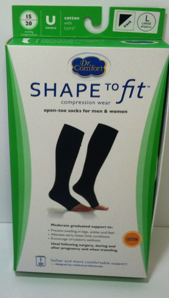 Dr Comfort Knee Socks Supports 15-20 mmhg Compression Wear Open Toe Shape to Fit #DrComfort