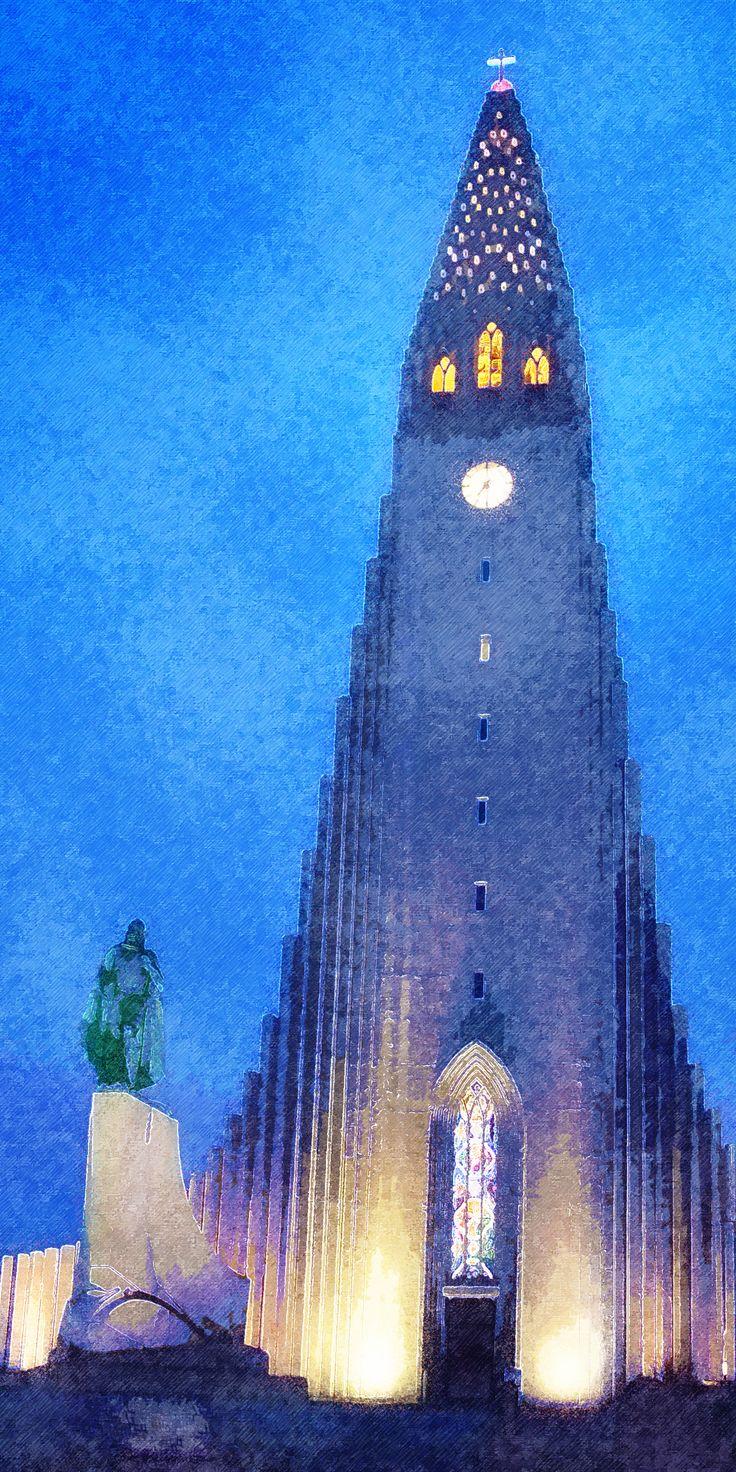 De Hallgrímskirkja bij avond, Reykjavik, IJsland, digitaal schilderij - Hallgrímskirkja by night, Reykjavik, Iceland, digital painting - Hallgrímskirkja am Abend, Reykjavik, Island, digitales Gemälde - Hallgrímskirkja par nuit, Reykjavik, Islande, peinture digitale