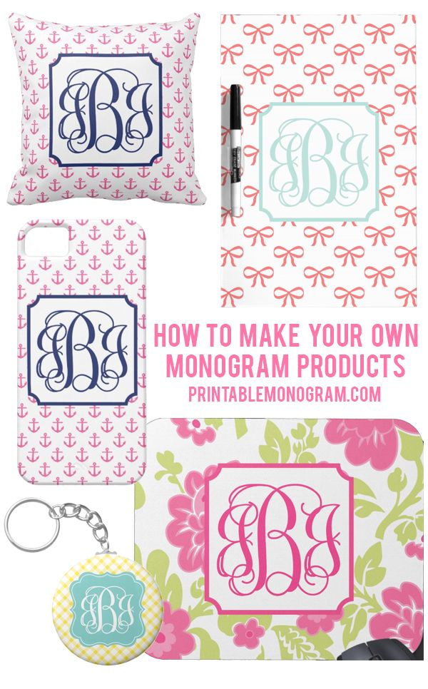 Create your own monogram products with monograms from printablemonogramcom full diy with step for Chicfetti monograms