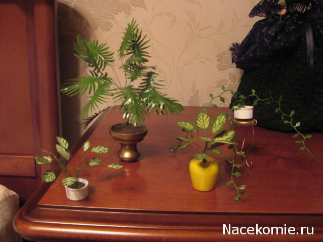 How to make beautiful looking faux plants for your dollhouse using wire, masking tape & paint (in Russian)