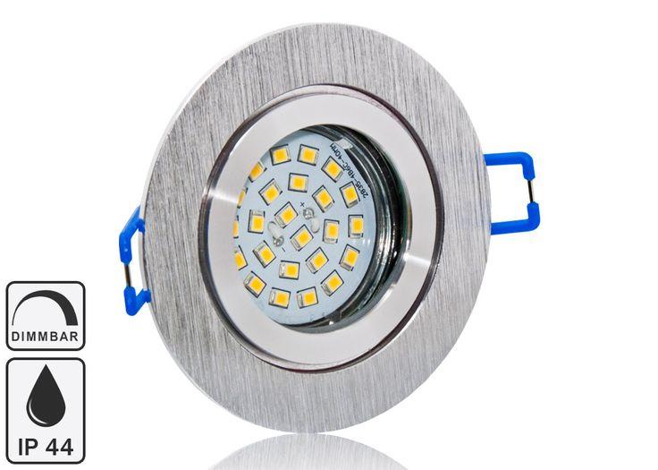 Feuchtraum LED Einbaustrahler Set IP44 Aluminium BiColor rund mit Marken GU10 LED Spot Nextec 5 Watt Klarglas dimmbar