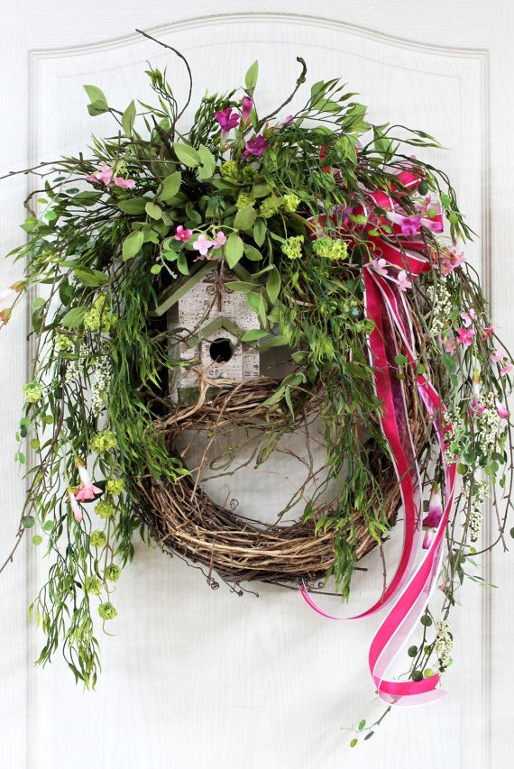 Country Summer Wreath Front Door Wreath Spring by FloralsFromHome. Cool idea. Layered wreaths