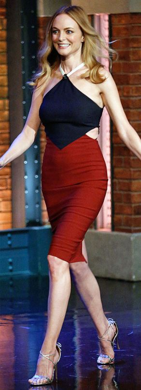 Who made Heather Graham's red and blue cut out dress?