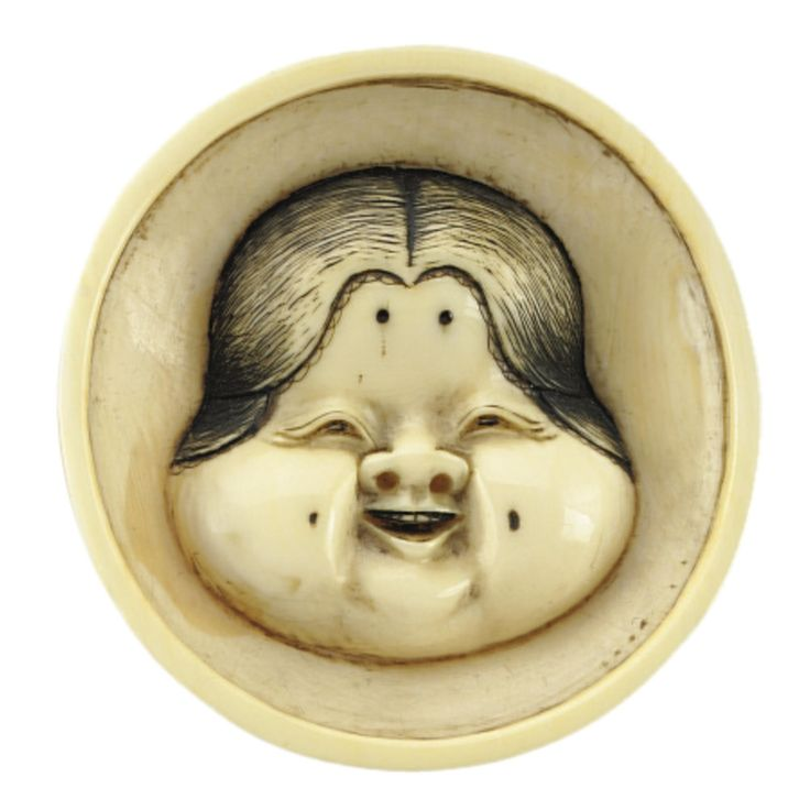 Two ivory Masks of Otafuku by Masahiro and Hidemasa, Osaka, 19th century | Lot | Sotheby's