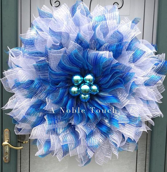 Blue Silver and White Deco Mesh Flower Poinsettia Wreath