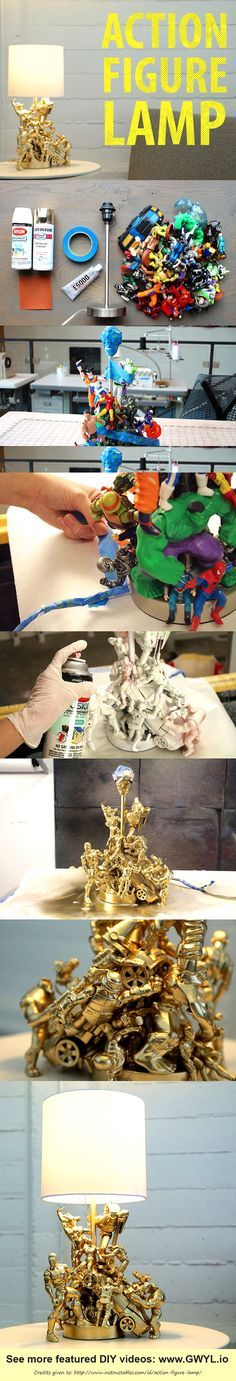 When you just can't let go of these toys especially your beloved action figures, might as well upcycle them to something more useful. Here's a project that will surely be a new favorite. See video and written instructions here ==> | http://gwyl.io/action-figure-lamp/ | Transform Your Old Toys Into This Ultra-Cool Action Figure Lamp