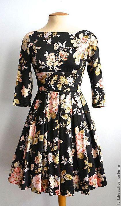 """Платья ручной работы. Ярмарка Мастеров - ручная работа Платье """"Black garden"""" из хлопка. Handmade."""
