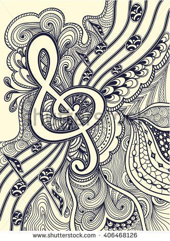 Zen-doodle treble clef  notes  musical stanza with Zen-tangle ornament style  black on white for coloring page or relax coloring book or wallpaper or for decorate package clothes or for Post Card
