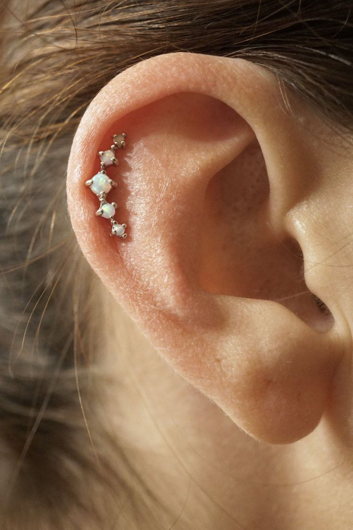 5 White Fire Opals Stud Cartilage Earring Piercing16g