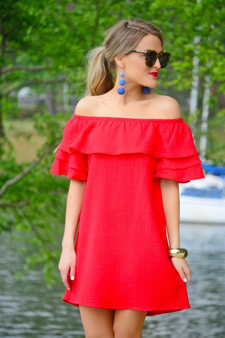 Every girl needs a go-to red dress just as much as an LBD! This one gets the job done with its adorable off shoulder fit and ruffled details. Fabric is a breathable 100% cotton.