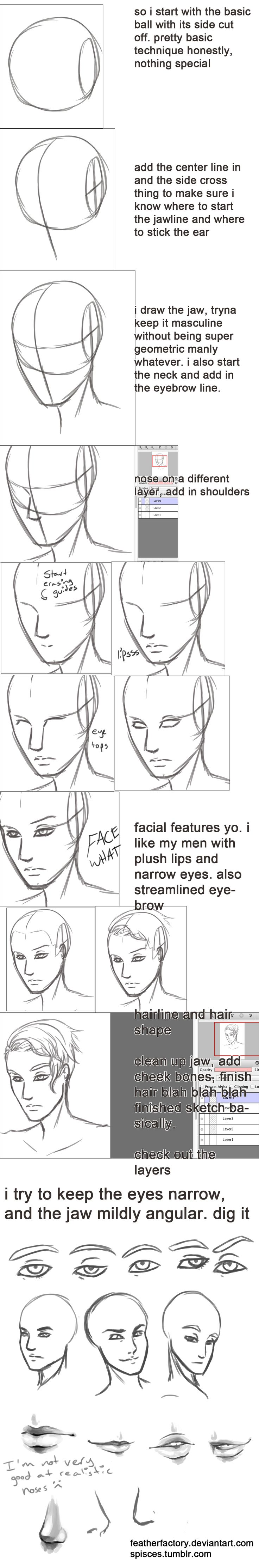 sketchin a pretty dude's face walkthrough thing by FeatherFactory on deviantART