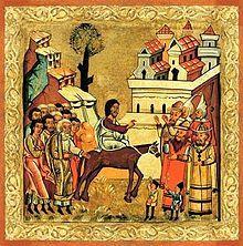 """""""Der Palmsonntag (lateinisch Dominica in Palmis de passione Domini für die römisch-katholische Kirche; Palmarum für die evangelische Kirche) ist der sechste und letzte Sonntag der Fastenzeit und der Sonntag vor Ostern. Mit dem Palmsonntag beginnt die Karwoche, die in der evangelisch-lutherischen Kirche auch Stille Woche genannt wird. Die Große Woche bzw. Heilige Woche der katholischen und der orthodoxen Tradition umfasst darüber hinaus auch Ostern.""""  Palmsonntag – Wikipedia"""