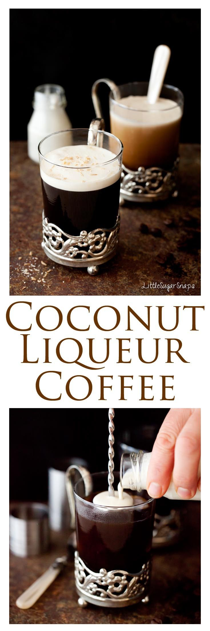 Coconut Liqueur Coffee: Coffee and coconut combine is this exotic hot drink. Fill your kitchen with intoxicating coffee aromas and snuggle up with a glass on any winters night. Quick and easy to prepare.