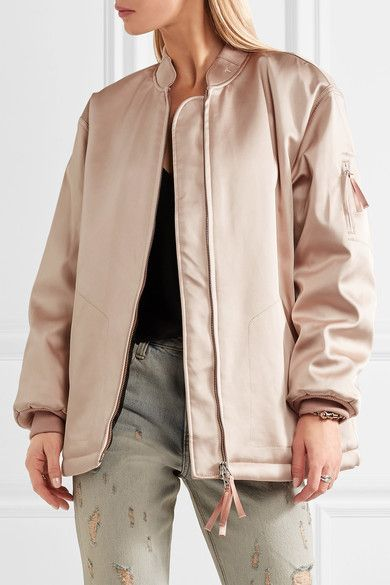 T by Alexander Wang - Oversized Satin Bomber Jacket - Blush - US