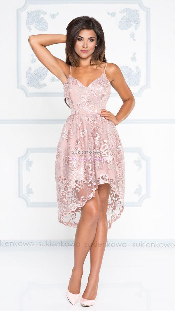 Sukienkowo Com Shelly Asymetryczna Sukienka Na Ramiaczkach Pudrowo Rozowa Hi Low Dresses High Low Dress Dresses