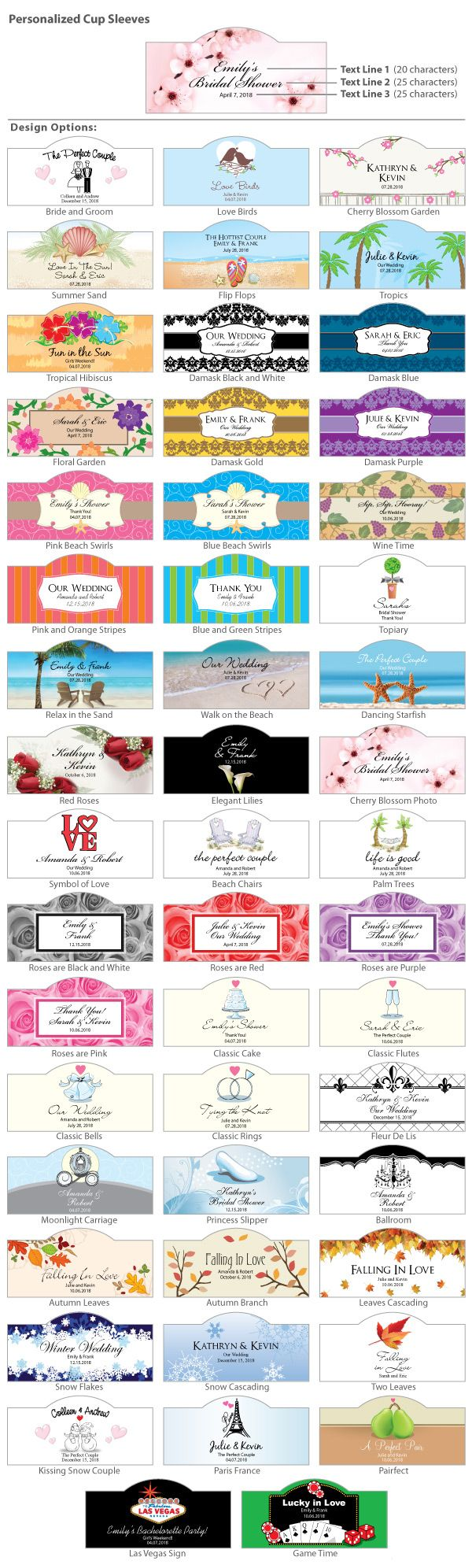 "They say ""elegance is in the details"" so add a detail that is sure to have your guest raving over your special day. Personalized cup sleeves are perfect to enhance your wedding day or shower with names, dates, and even special quotes or lyrics. Dress up your guest beverages for the traditional cocktail hour, the trend setting coffee bar or just the ""finishing touch of elegance"" to your place setting. Ordinary glassware and disposable cups will be the best dressed attendants at your event…"