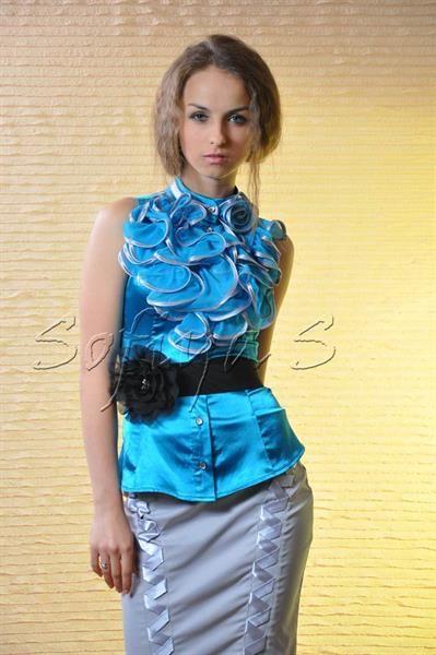 Голубая бирюзовая атласная блузка купить