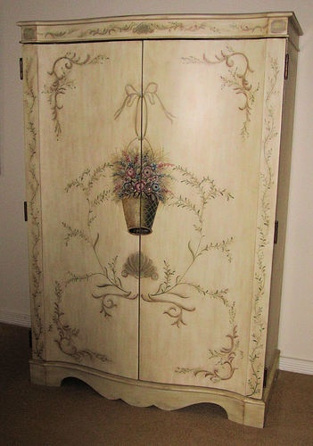 Country French Floral Painted Armoire / Wardrobe