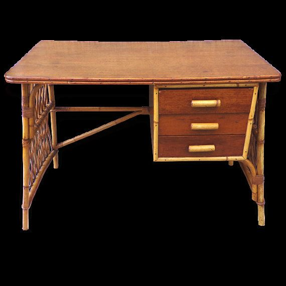 French vintage rattan and oak desk Office 1960 mid by PopVintages