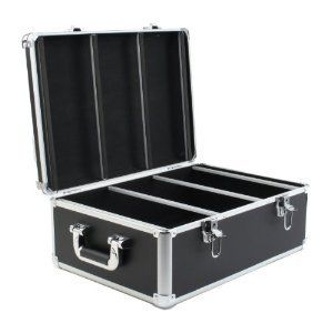 DJ Aluminum-like Hard CD Case, 600 Capacity (CD Holder Cases) Black PVC Leather Case with Aluminum Trim for CD, DVD, Blu-Ray Media Storage. by Merax. $35.99. Aluminum-like Hard CD Case, 600 Capacity (CD Holder Cases) Black PVC Leather Case with Aluminum Trim for CD, DVD, Blu-Ray Media Storage.. Aluminum-like Hard CD Case, 600 Capacity (CD Holder Cases) Black PVC Leather Case with Aluminum Trim for CD, DVD, Blu-Ray Media Storage. With 300 Units Double-Sided Black Hanging Sleev...