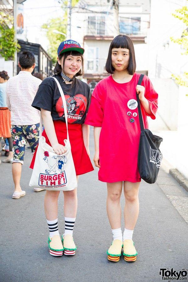 16-year-old students Hinata and Rukako on the street in Harajuku wearing matching hamburger shoes from the Japanese brand Candy Stripper along with fashion from Seto Ayumi's brand Aymmy in the batty girls, Nadia Harajuku, and Spinns Harajuku.