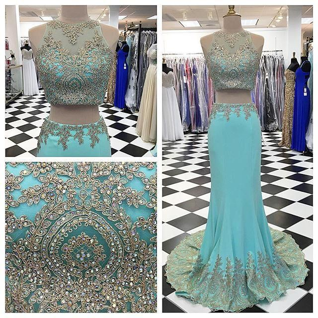 2 Piece Prom Gown,Two Piece Prom Dresses,Blue Evening Gowns,2 Pieces Party Dresses,Lace Evening Gowns,Formal Dress For Teens