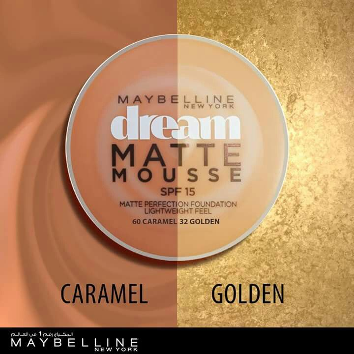 For 175 Dream Matte Mousse Golden. and Dream Matte Mousse Caramel #Maybelline #MakeItHappen