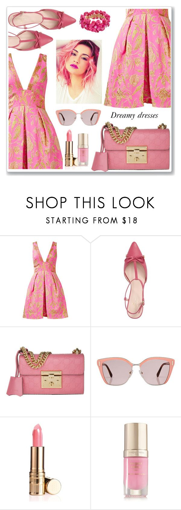 """""""Magenta"""" by paperdolldesigner ❤ liked on Polyvore featuring Notte by Marchesa, Kate Spade, Gucci, Prada, Elizabeth Arden and Margaret Dabbs"""