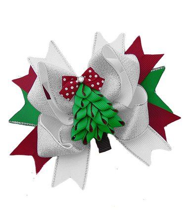 This Glitter Christmas Tree Boutique Hair Bow is perfect! #zulilyfinds