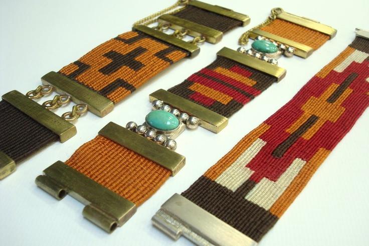 """""""""""Pulseras Guarda Pampa"""""""" tejidas en telar, con hilos de seda, plata 900, por manos de artesanos Argentinos"""