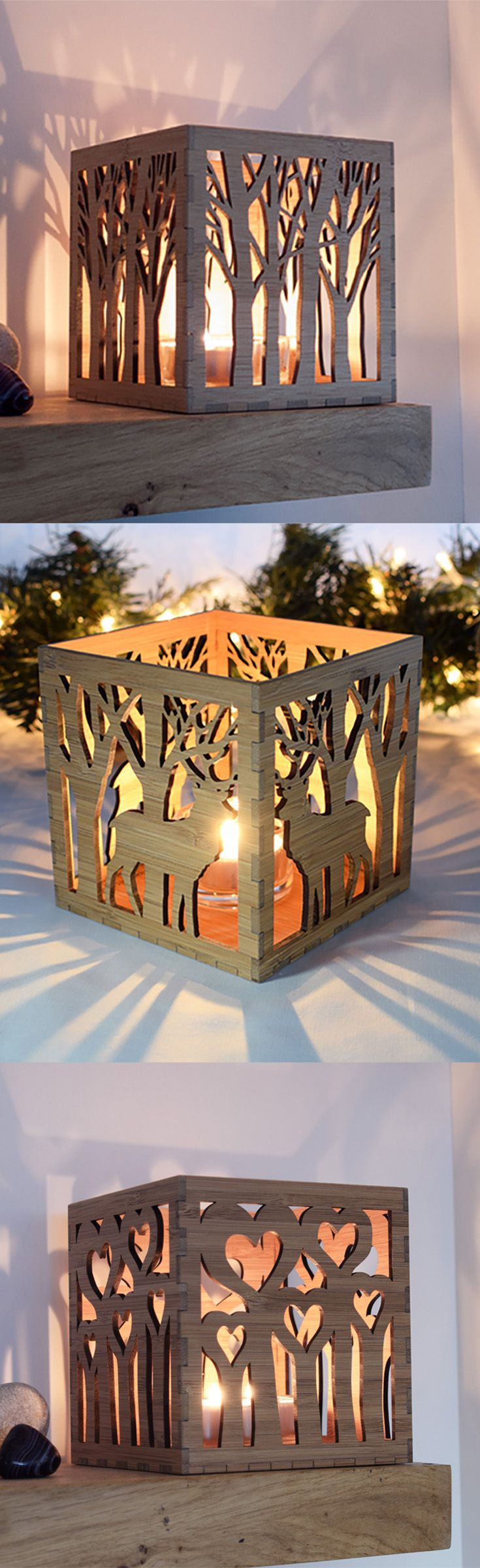 Silhouette Candle Lanterns, made from eco-friendly bamboo. Tea Light Holders by Beam Designs, UK designed and made, available on Etsy. Our natural Votive Candle Holders make a great 5th Anniversary Gift, Wedding Present or Christmas Gift Idea.