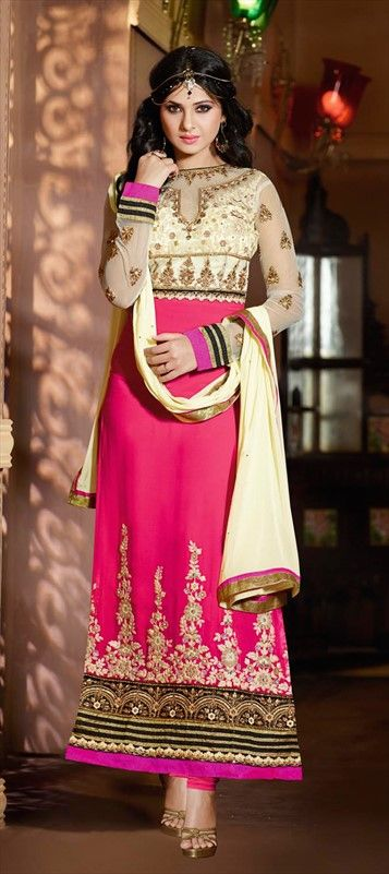 419668:  Viscose, Georgette, Machine Embroidery, Stone, Zari, Thread, Lace  #pink #anarkali #wedding #bridal #bridetobe #indianwedding #sale #onlineshopping #Bollywood