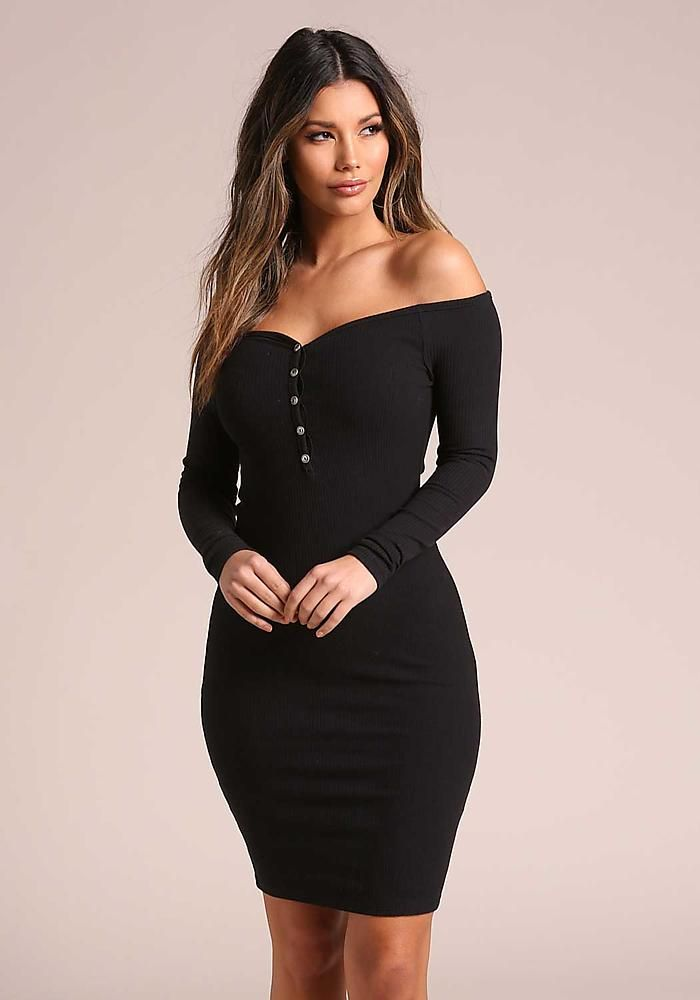 af914d5b963b Black Off Shoulder Ribbed Knit Bodycon Dress - Clothes - New | Just ...