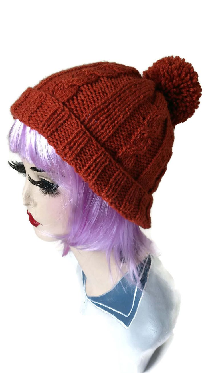Cable Hat Aran Retro Ski Bobble Pompom Slouchy Beanie Rockabilly Rust Ginger by thekittensmittensuk on Etsy