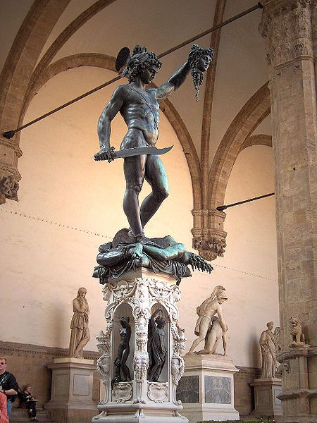 Perseus and the head of Medusa by Cellini - Florence - one of the amazing sculptures positioned within the Loggia de Lanzi, between Piazza della Signoria and the Uffizzi Gallery.