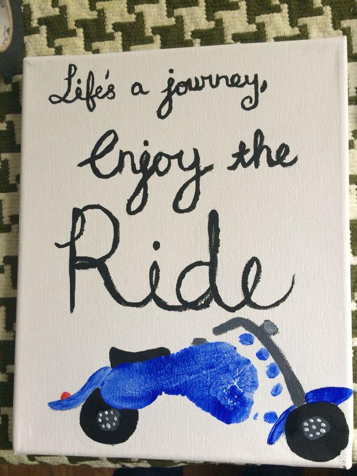 Christmas present for Grandpa. =) motorcycle footprint art